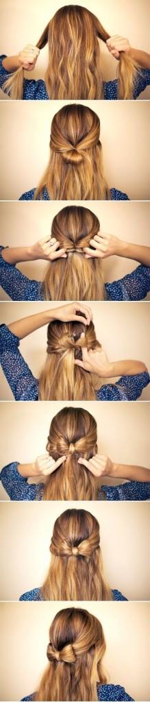 Как заплести бантик в волосах фото