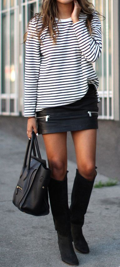 с чем носить кожаную юбку- мини