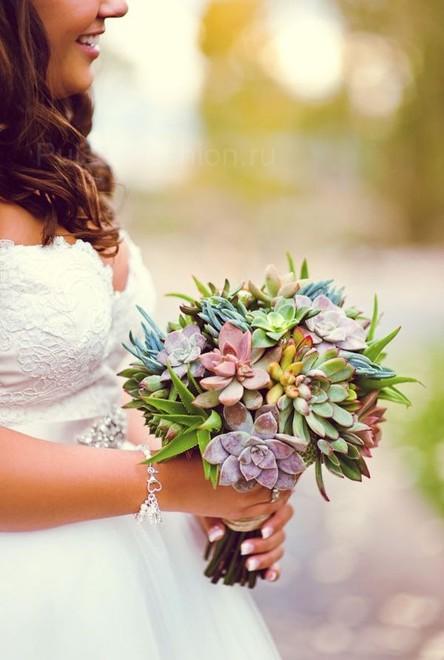 свадебный букет из суккулентов