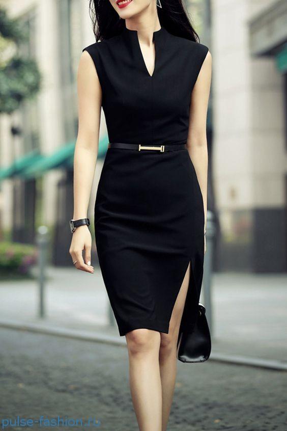 Стильные и модные офисные платья без рукавов 2019