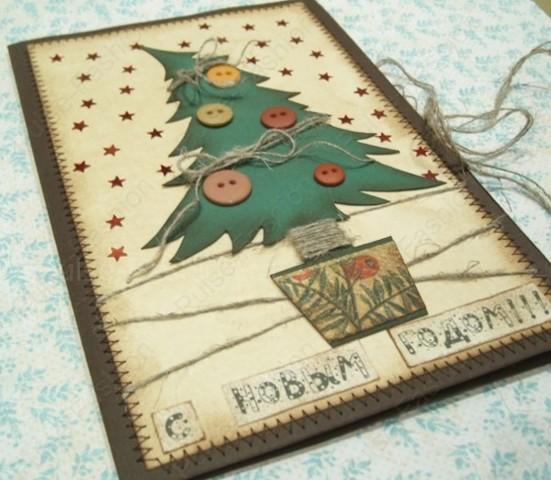 открытка с аппликацией елки на новый год 2020