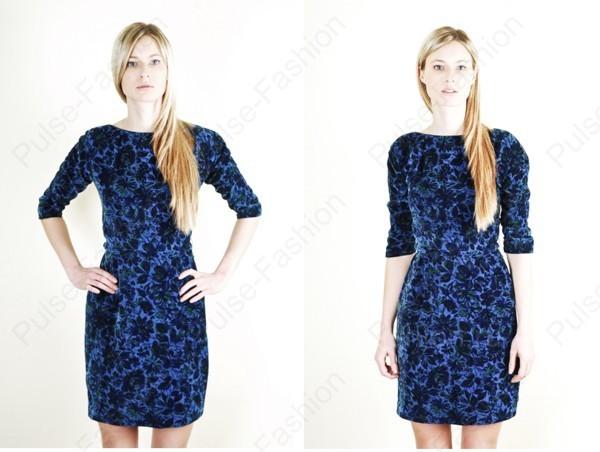 бархатное платьице голубого цвета 2019