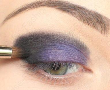 вечерний мейкап глаз фиолетовых цветов для брюнеток